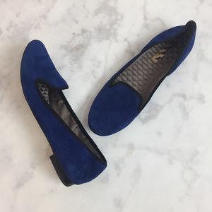 BCBGMaxAzria Blue Suede Fernanda Loafer Flats!