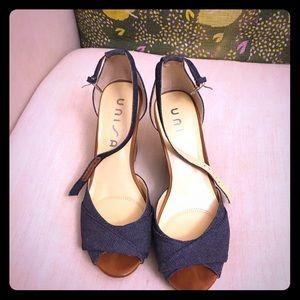 Unisa Blue Denim Wedge Sandals, Size 9