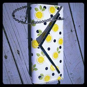Lemon polka dot clutch/shoulder bag
