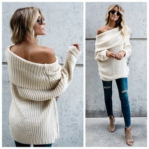 New cream Fold Over Chunky Off Shoulder Sweater