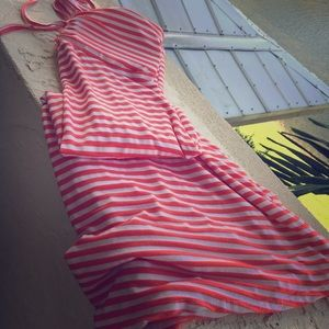 Orange/White Stripped Halter Dress