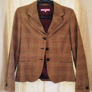 Khulman brown plaid blazer, made in Italy