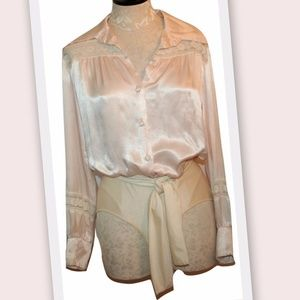 1970s Long Sleeve Vintage Lace Trim Bodysuit