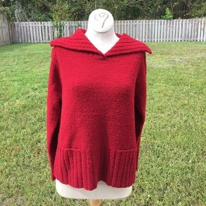 Red Eileen Fisher sweater 90% wool