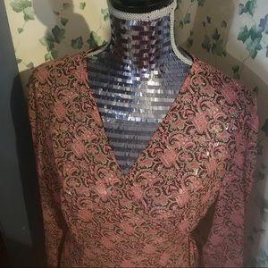 LOFT paisley semi sheer silk blouse wrap