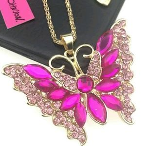 Betsy johnson rhinestone enamel butterfly necklace