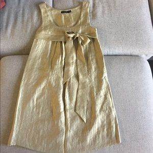 Gold Party Dress with Bow