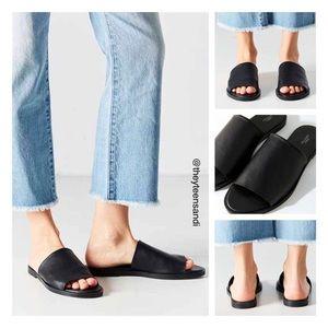 Urban Outfitters Black Leather Milo Slide Sandal