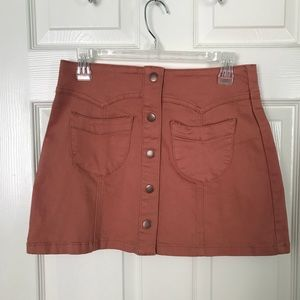 button down front skirt