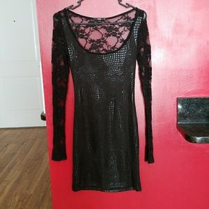 Black lace dress with snake print