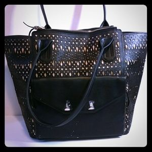 Stella & Dot The Shift Black Perf 2 in 1 Handbag