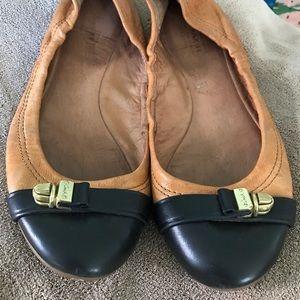 Coach flats chestnut leather black ballerina shoes