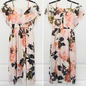 Floral Ruffle Sleeveless Midi Dress