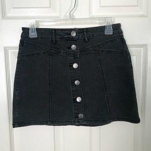 dark grey button down mini skirt