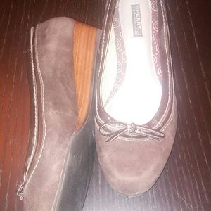 Sperry top sider brown suede wedge 8