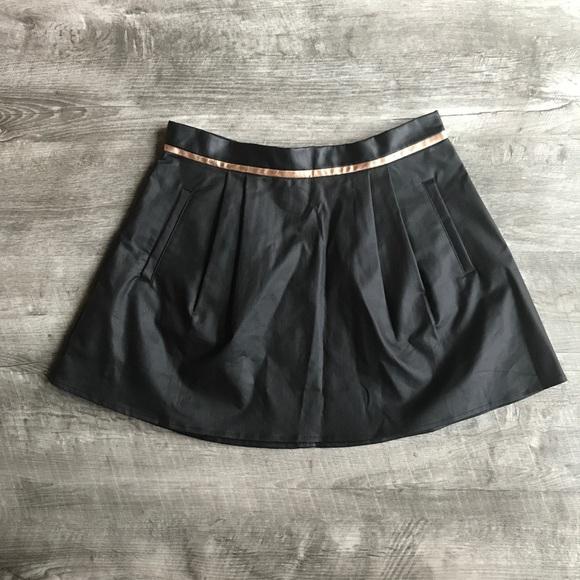 d867d4abaf BCBGeneration Skirts | Faux Leather Black Mini Skirt With Rose Gold ...