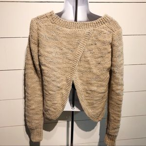 Split Back Banana Republic Gold and Silver Sweater