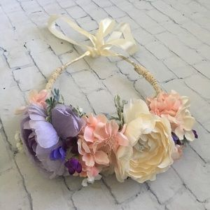 Accessories - Pastel and Lace Flower Crown with Ribbon