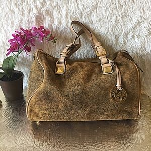 Authentic MK Grayson Mocha Distressed Leather Bag