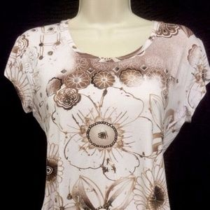 Blouse By Chicos Size O T-Shirt Style Brown White