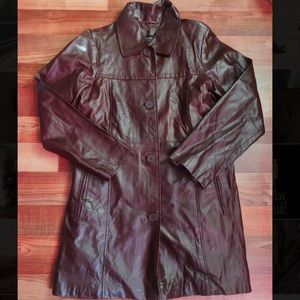 Women's S Sueded Leather Trenchcoat
