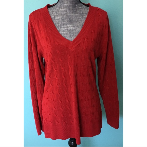 Ashley Stewart Sweaters - Ashley Stewart Soft Vneck Sweater Red Cable Knit