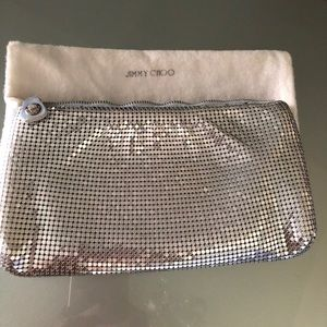 JIMMY CHOO Silver chain mail evening bag w/ pouch