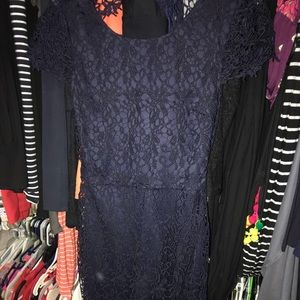 Francesca's navy lace dress with open back