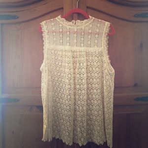 Anthropologie Crochet/Lace Sleeveless Top