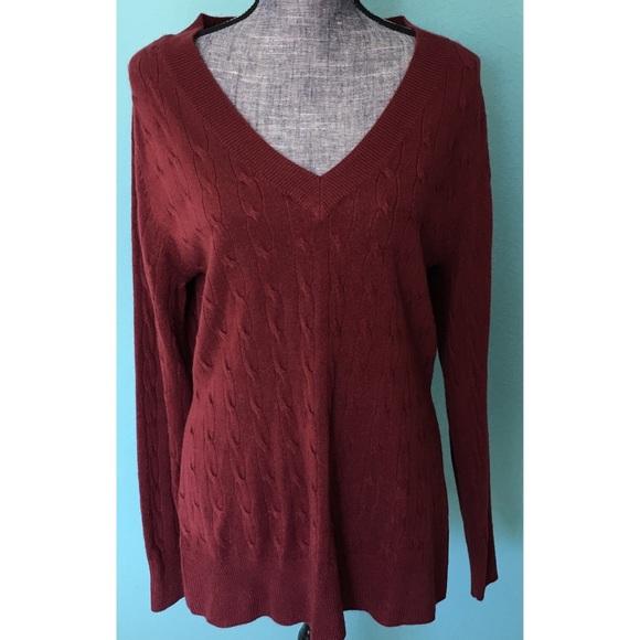 Ashley Stewart Sweaters - Ashley Stewart Soft Vneck Cable Knit Sweater 14 16