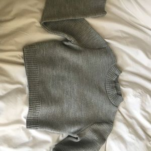 cropped grey mock neck sweater ribbed