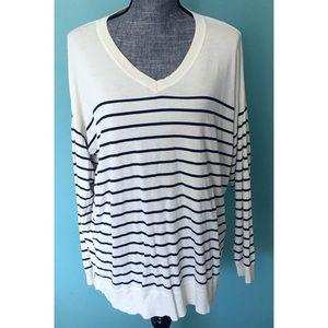 Talbots Vneck Sweater Stripes Cream & Blue 2X plus