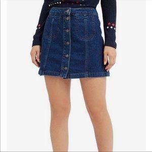 NWT Topshop Button Down Denim Skirt