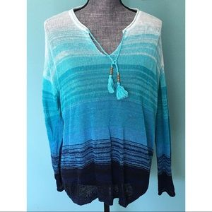 J. Jill Linen Sweater Turquoise XL semi sheer