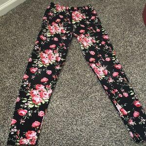Pants - SALE! Rose Print Leggings