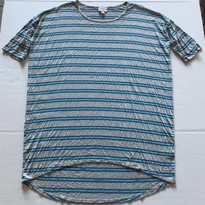 Lularoe Irma Gray Blue Striped Jersey Knit Tunic C