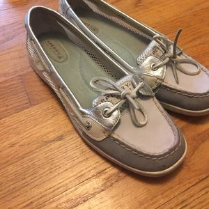 White, grey, and silver Sperry Topsiders