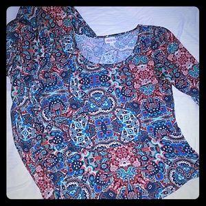 S LuLaRoe Ana Dress Full Length Fitted Bodice Maxi