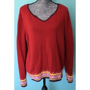 J. Jill Red Sweater Ribbon & Sequin Embellishment