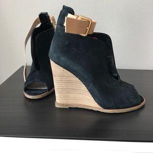 Zara peep toe wedge sandal
