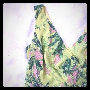 EShakti Plus Size Tropical Chiffon Dress w Pockets