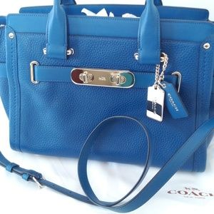 Coach Swagger Carryall Satchel Pebble Leather Blue