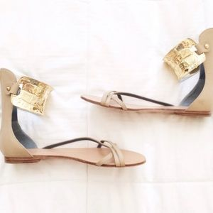 Authentic Monika Chiang Gold Cuff Sandals 38