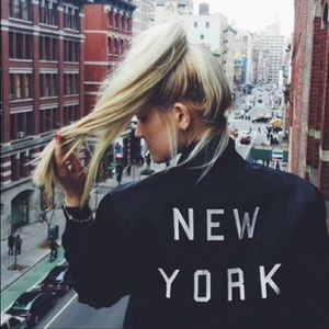 Brandy Melville New York bomber sweater jacket