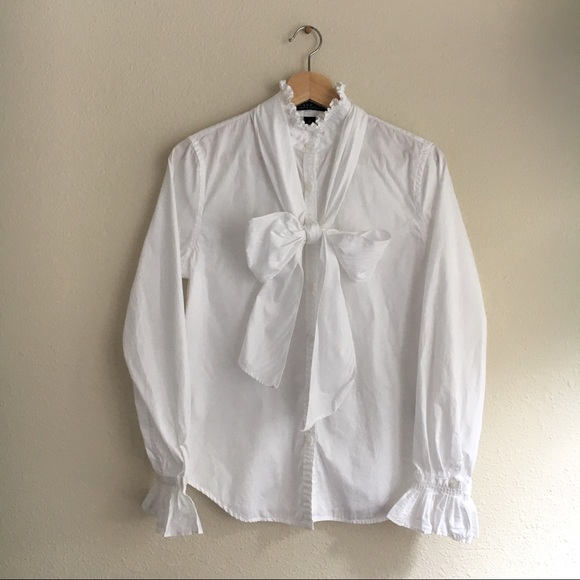 c5620a0f5fd Ralph Lauren White Ruffle Shirt with Pussy Bow