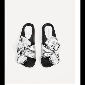 NWOT Zara Silver Slides