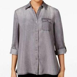 Style & Co Button Back Grey Wash Denim Shirt