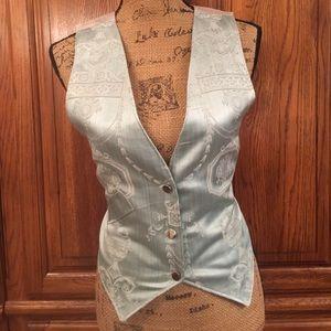 Vintage Silk Damask Print Vest