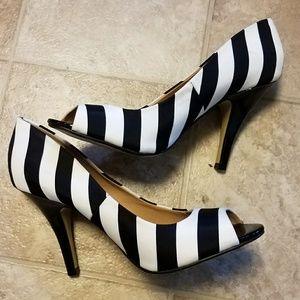 Quirky Striped Peep Toe Heels
