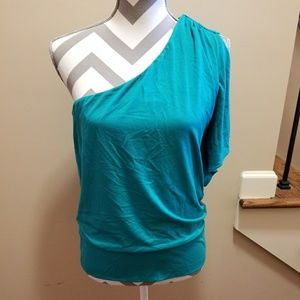 Turquoise One Shoulder Shirt